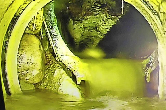 Grundwasser dringt in den Kanal beim Stauweiher ein