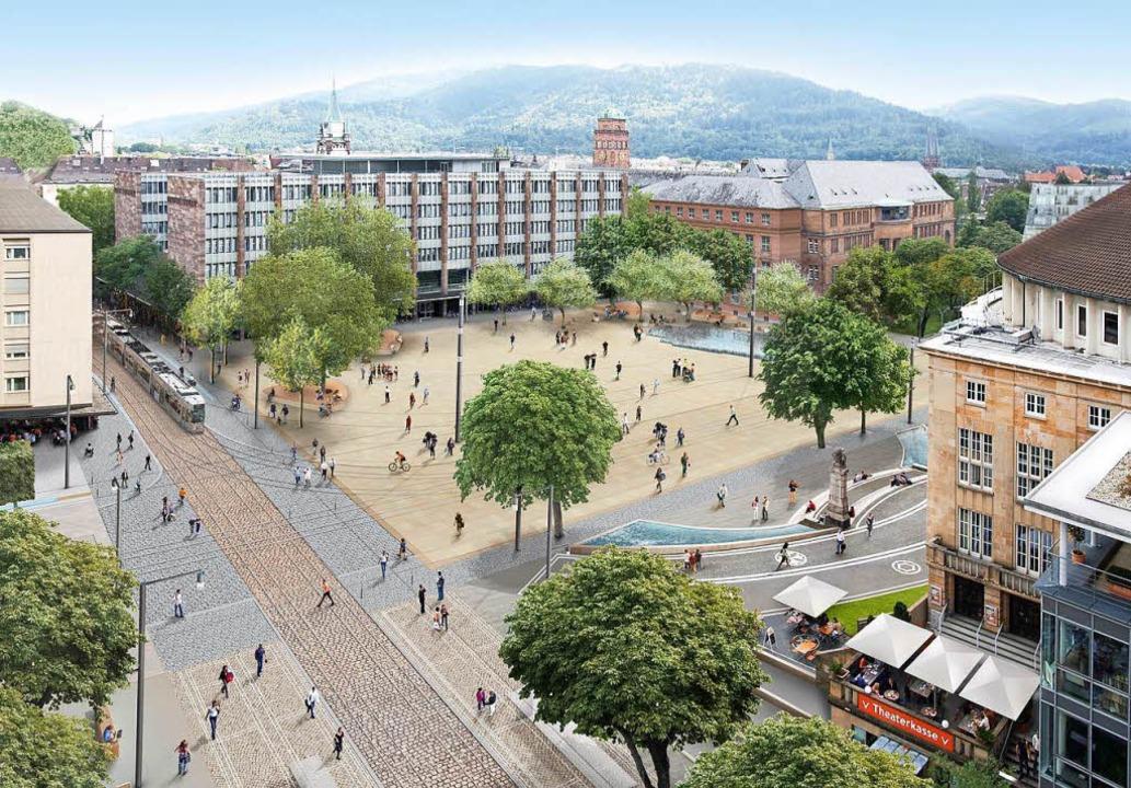 Der ursprüngliche Platz-Entwurf sah weitere Wasserflächen vor dem Theater vor.  | Foto: GD90
