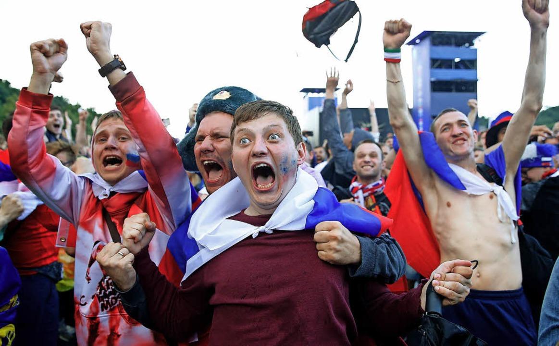 Public Viewing in Moskau: So reagierte...nenen Elfmeterschießen gegen Spanien.   | Foto: AFP