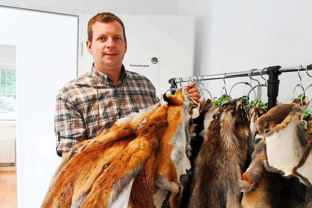 Frederik Daniels, Leiter der Abbalgsta...H, zeigt Bälge von verschiedenem Wild.  | Foto: dpa