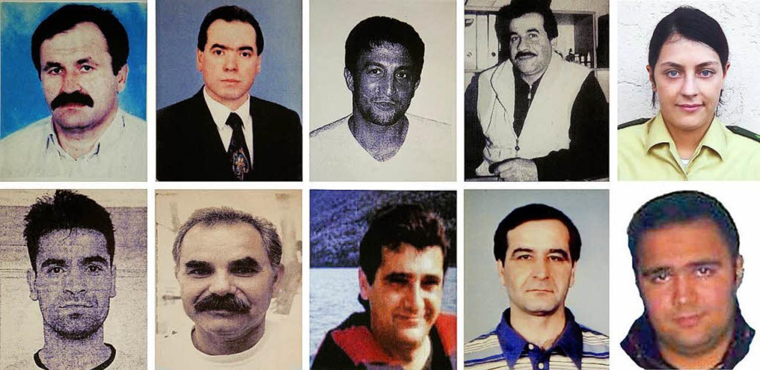 Die Opfer des NSU: Enver Simsek, Abdur...k und Halit Yozgat (unten, von links).  | Foto: dpa