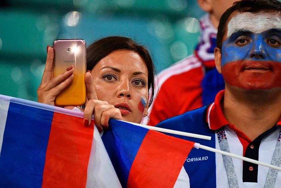 Trauer in Russland nach dem WM-Aus gegen Kroatien. (Foto: AFP)