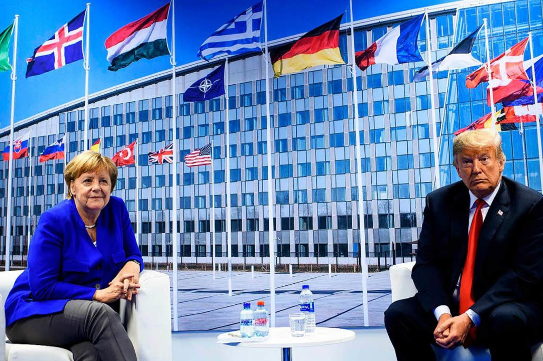 Echte Freunde? Kanzlerin Merkel und US-Präsident Trump am Mittwoch in Brüssel.     Foto: afp
