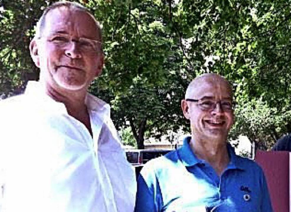 <BZ-FotoAnlauf>Volleyball: </BZ-FotoAn...(links) mit Matthias May vom TV Lahr.   | Foto:  Verband