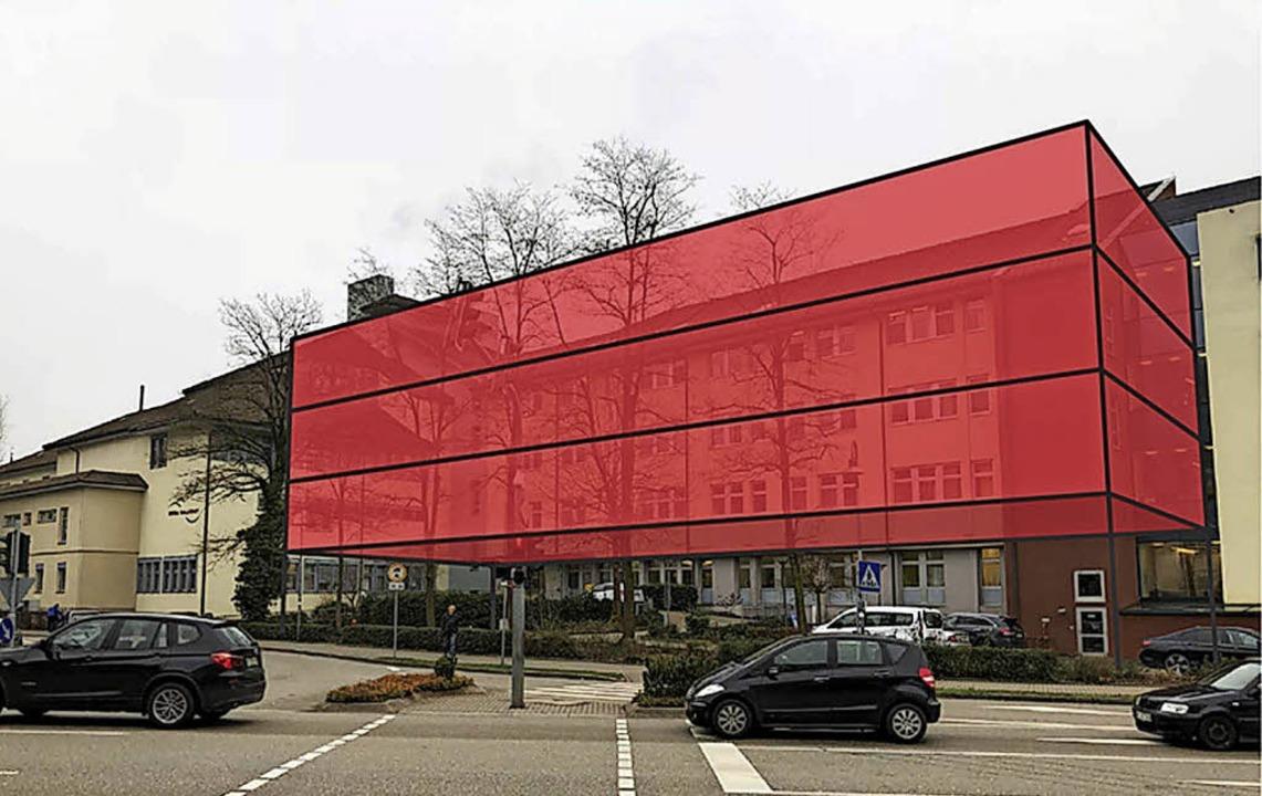 Nicht in Rot: Das Waldshuter Spital so...der Anbau wieder zurückgebaut werden.   | Foto: Visualisierung: Spitäler Hochrhein GmbH
