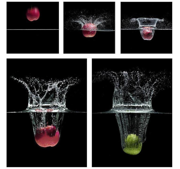 Ein Apfel fällt ins Wasser – mit...eiz. 62 Fotoclubs haben teilgenommen.     Foto: Jürgen Bartalis, Bärbel Büdke, Heiner Dietz, Lothar Fritsch, Jens Mellies