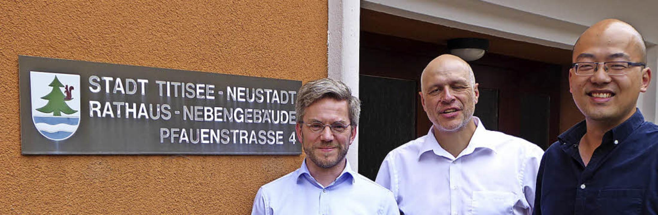Das Architektentrio (von links):  Mari...r, Volker Dengler und   Mingshang Gao   | Foto: Peter Stellmach