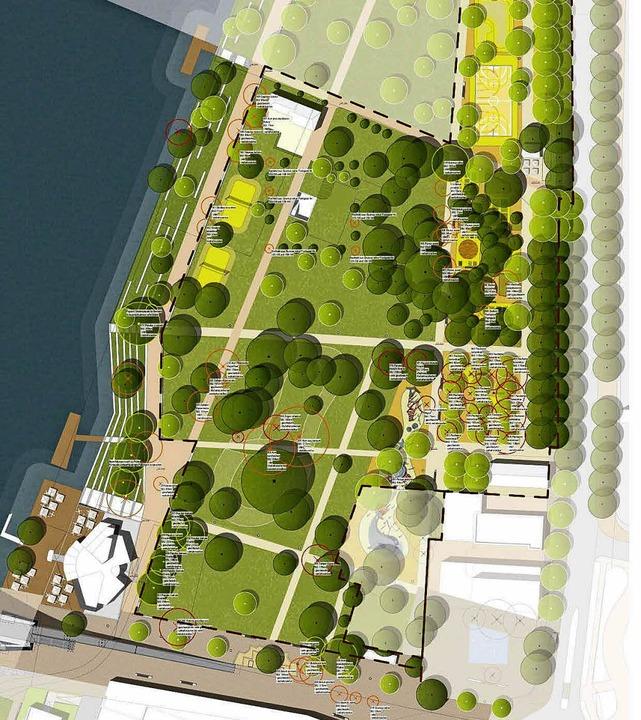 Der Baumbestand im Rheinpark ist genau...ren Bäume, die gefällt werden müssen.     Foto: Grafik: faktorgruen