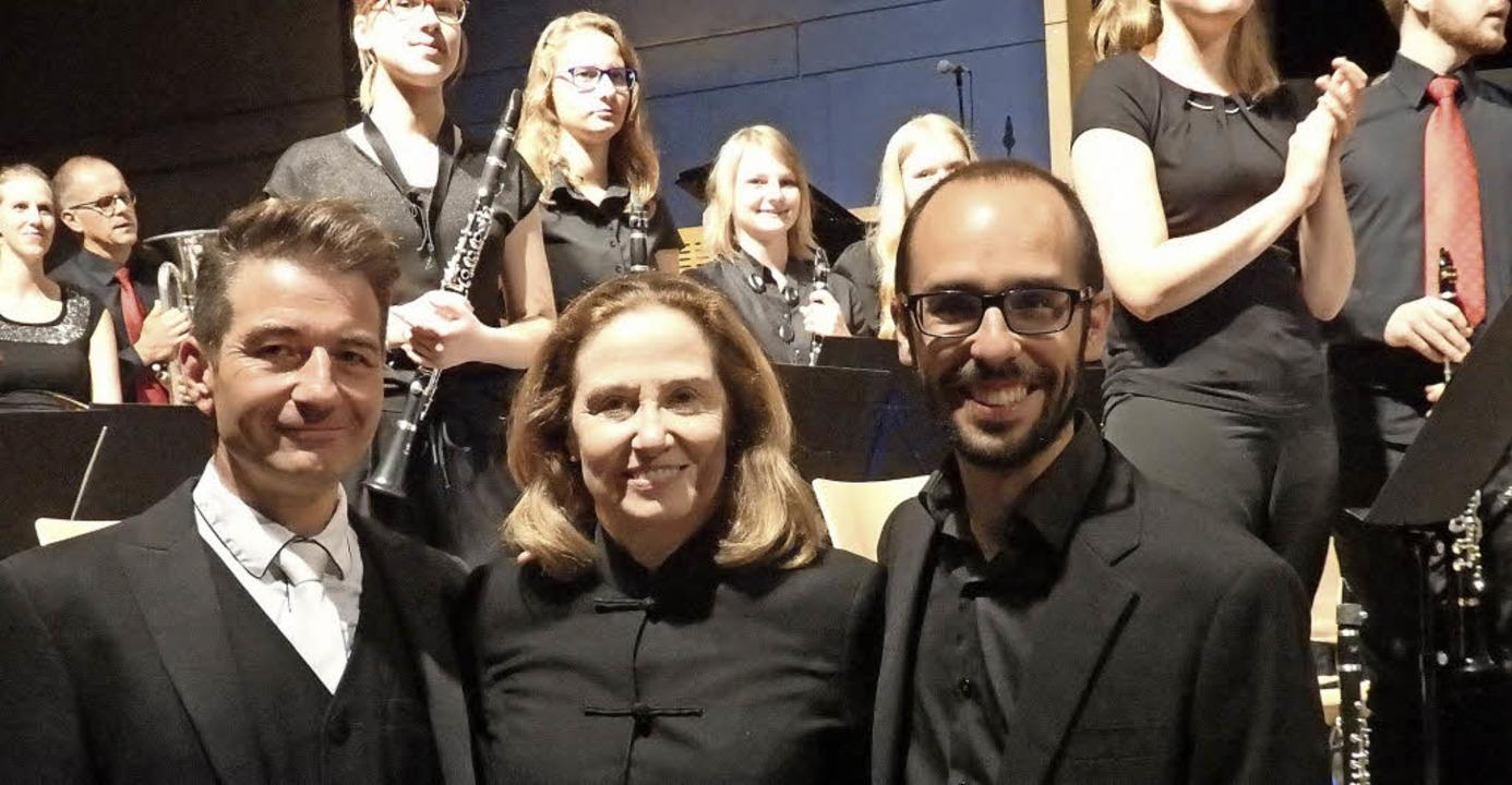Die drei Dirigenten Rüdiger Müller (li...a Holcomb und José Ignacio Blesa-Lull   | Foto: Bianca Flier