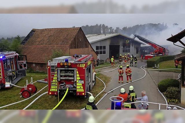 Holzlager in Flammen