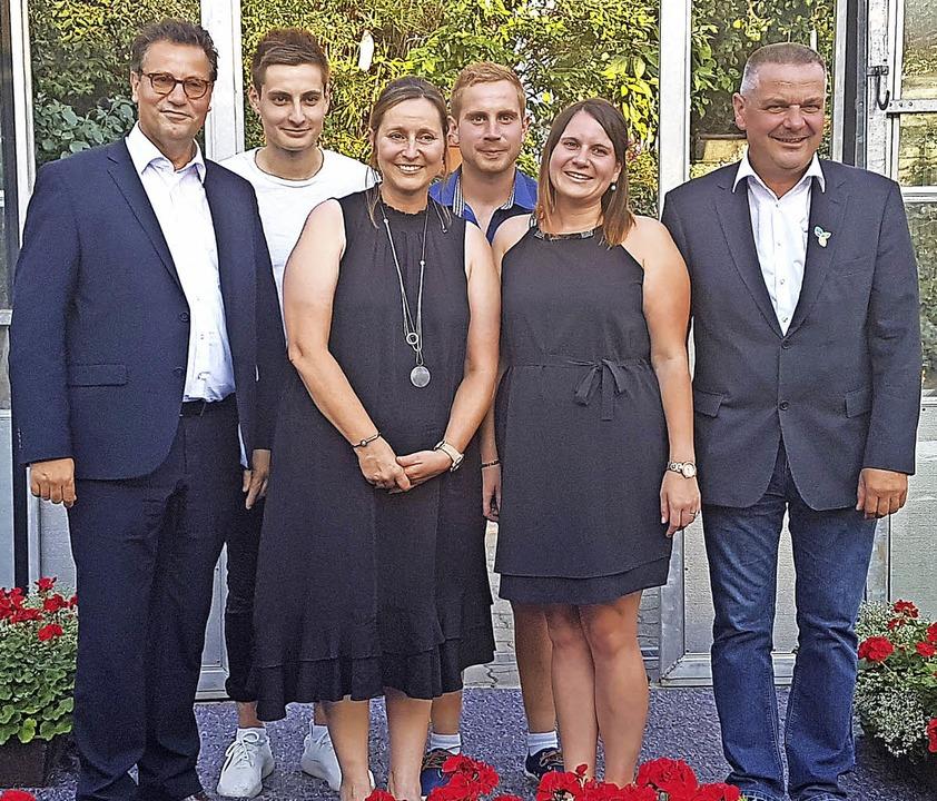 Minister Peter Hauk, Jakob, Kerstin, R...,  Magdalena und Gerhard Hugenschmidt   | Foto: Sarah Wunderlin