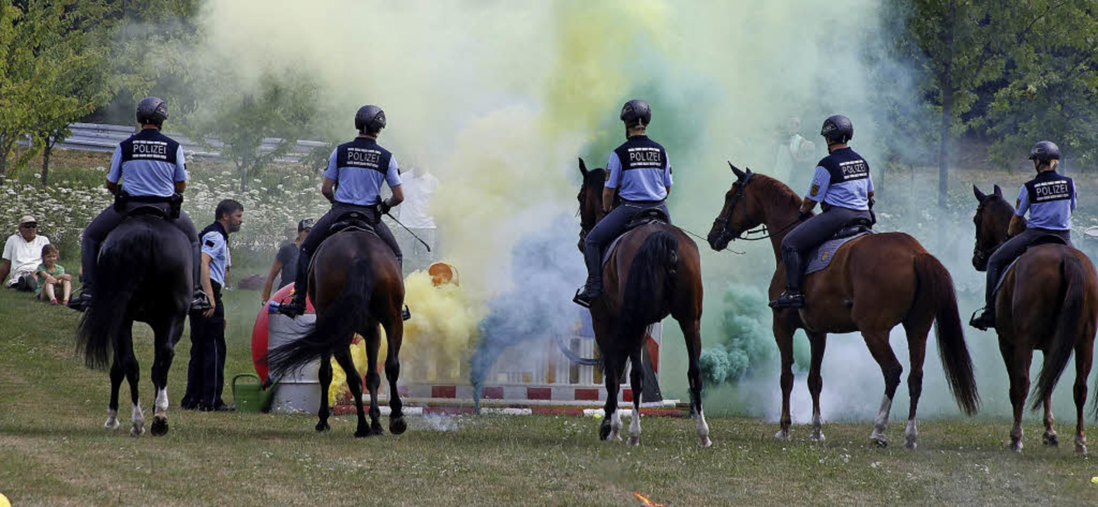 Die Reiterstaffel zeigte beim Tag der ...sich die Pferde im Einsatz verhalten.     Foto: Heidi Fössel