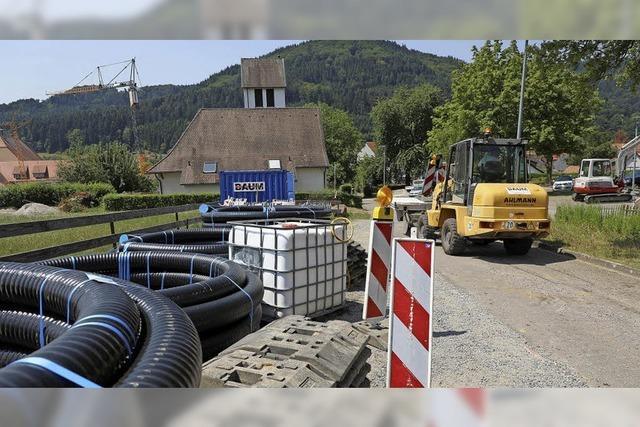 Arbeiten für das Nahwärmenetz in Seelbach