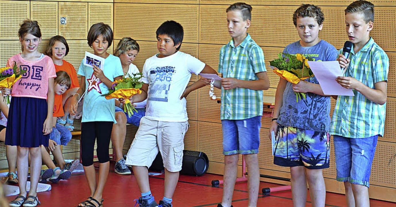 Die verabschiedeten Viertklässler an d...s Maier, Rafael Asal und Niklas Maier   | Foto: karl-heinz rümmele