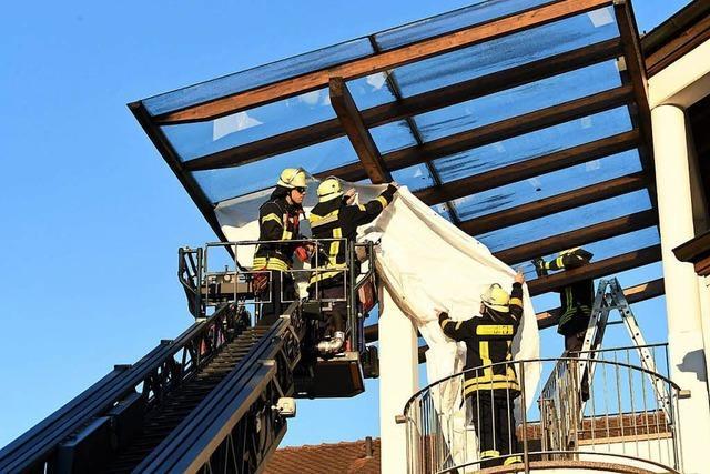 Hitze lässt Glasscheibe zerspringen, Feuerwehr im Einsatz