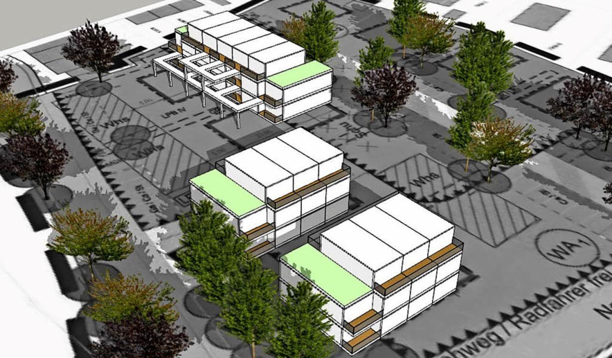 So könnten die beiden Gebäude an der O...her Nonnenholzstraße einmal aussehen.   | Foto: Grafik: Wohnbau