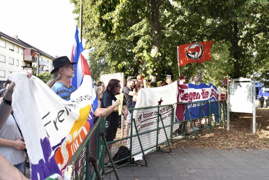 Demonstration gegen die AfD in Zähringen.  | Foto: Thomas Kunz