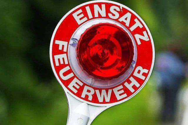 Feuerwehr löscht Schopf in Wallbach