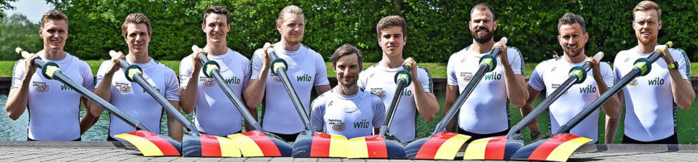 Das Team des Deutschland-Achters mit J...ider aus Ihringen (Vierter von links)   | Foto: DPA