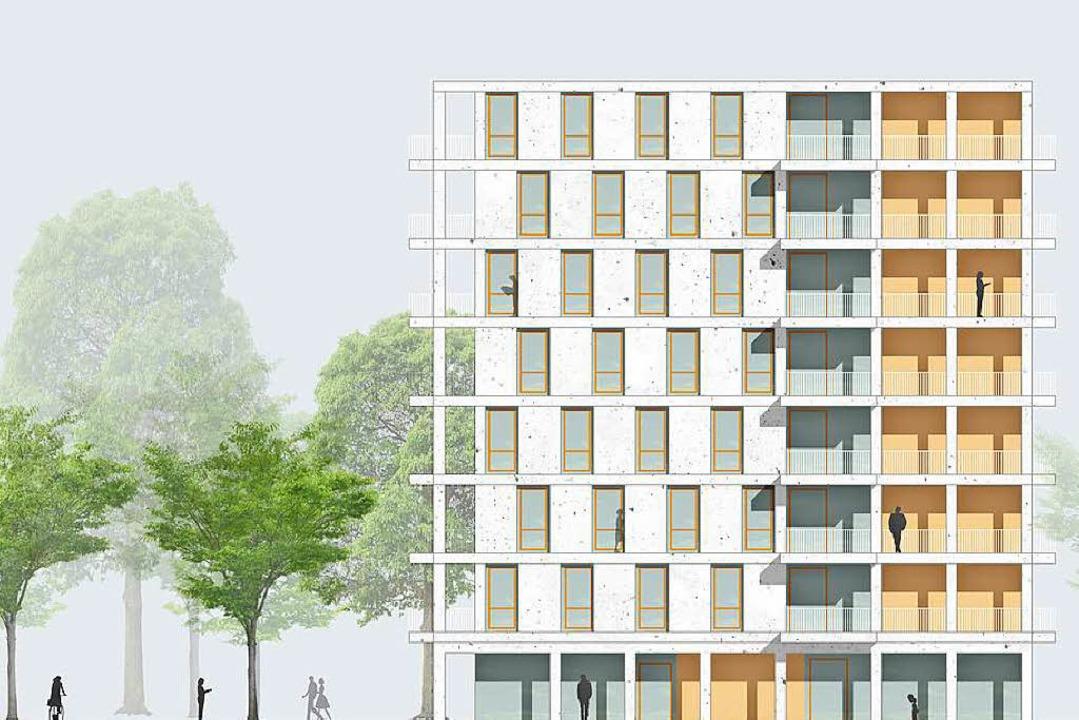 Der Entwurft für das achtstöckige Wohnheim an der Bugginger Straße.    Foto: Architektenbüro