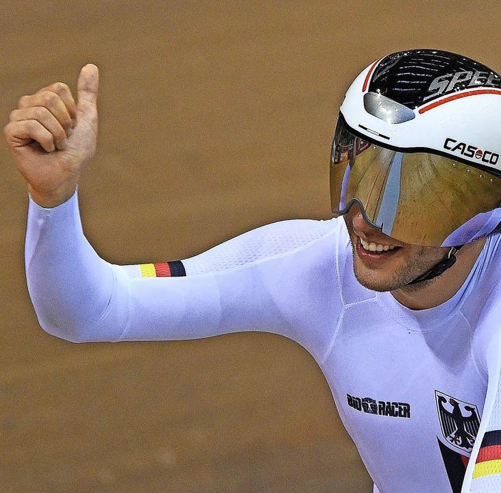 Die Nummer eins bei der Europameisters...r-Einzelverfolgung: Domenic Weinstein     Foto: Afp