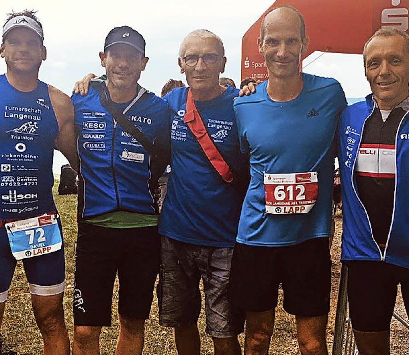 <BZ-FotoAnlauf>Langenauer Triathleten:...eter Wassmer gaben am Bodensee alles.   | Foto: Privat