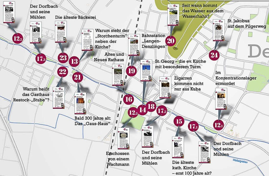 Ein Ortsplan zeigt, wo es Infos gibt.   | Foto: Gemeinde Denzlingen