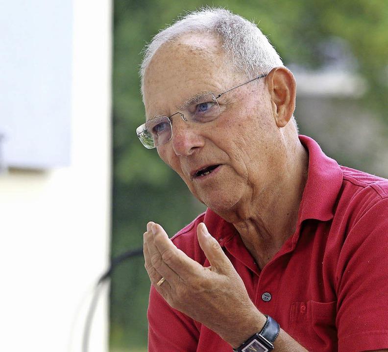 Wolfgang Schäuble beim BZ-Interview im... Steinwurf von seiner Wohnung entfernt  | Foto: Peter Heck