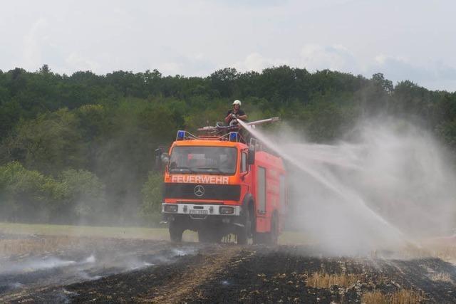 Bei Ehrenstetten sind Felder in Flammen aufgegangen