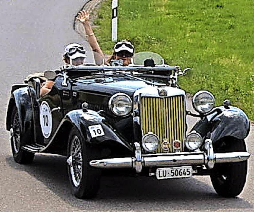 Dieser britische MG Sportwagen  hat ei...S starken Motor und wurde 1950 gebaut.  | Foto: Stefan Pichler