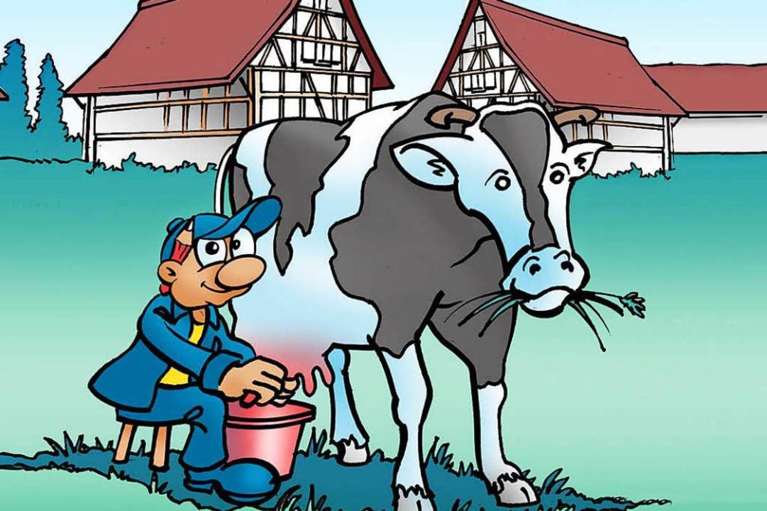 Im Ecomusée werden Kühe von Hand gemolken.    Foto: BZ