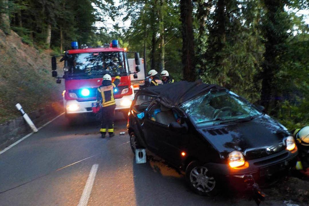 Diesen Twingo, der eine vier Meter tie... musste  die Feuerwehr Kandern bergen.    Foto: Feuerwehr Kandern