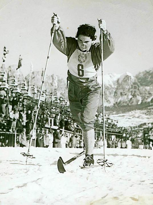 Rita Czech-Blasel 1956 in Cortina d'Ampezzo.    Foto: dpa