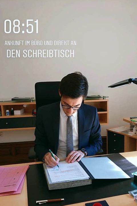 Die Instagram-Story: Ein Tag im Leben ...iburger Oberbürgermeisters in Bildern.  | Foto: Screenshot