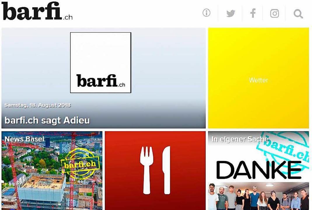 Das Onlineportal barfi.ch verabschiedet sich von seinen Lesern.    Foto: bz