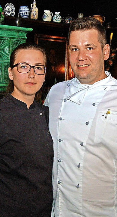 Der neue Küchenchef Nicolas Cordier mit Verlobter Natalja Stürz     Foto: Ringwald