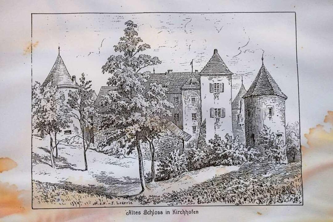 Lithografie des alten Schlosses von Franz Lederle aus dem Jahr 1879.  | Foto: Frank Schoch