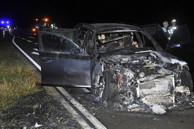 Autobrand bei Nonnenweier