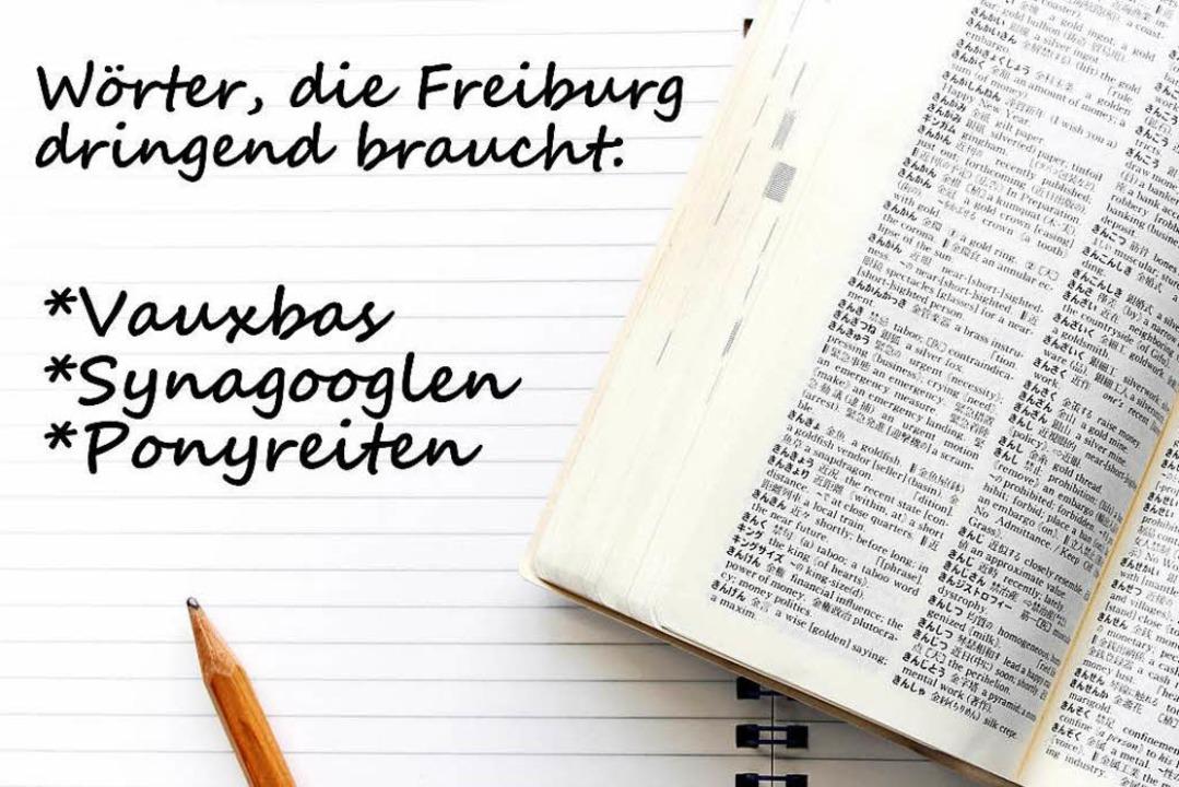 Was heißt Vauxbas, Synagooglen und Ponyreiten in Freiburg?  | Foto: Shizendaisuki (Adobe Stock), Bearbeitung fudder