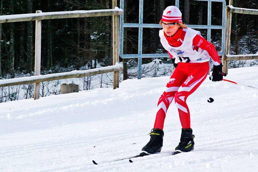Ekaterina Kauffmann auf Skiern    Foto: Privat