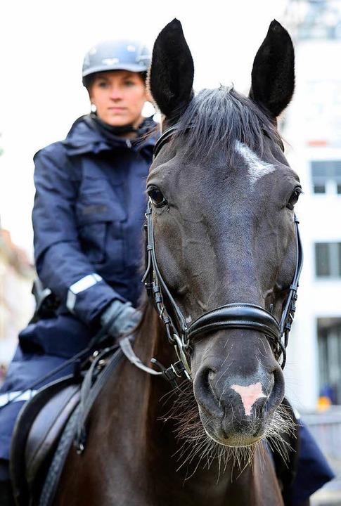 Auch in Freiburg sind berittene Polizi...iellen Gewalttätern Respekt einflößen.    Foto: Ingo Schneider