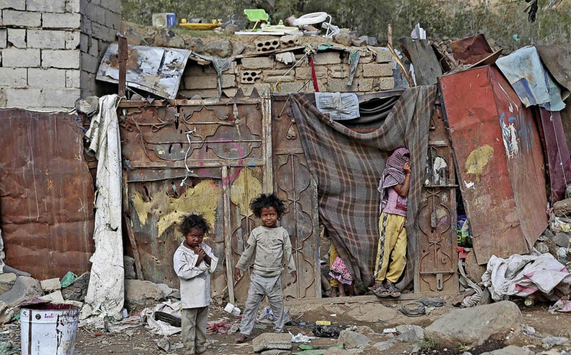 Notunterkunft im Bürgerkriegsland Jemen    Foto: DPA