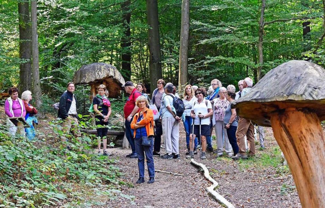 Zwischen den  Pilzskulpturen des Myzel...es bisher nur Pilze aus Holz zu sehen.  | Foto: Michael Bamberger