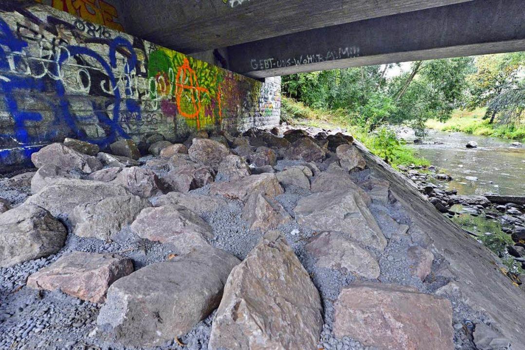 Unter der Oberaubrücke an der Dreisam ...ich, nun setzte die Stadt dort Steine.  | Foto: Michael Bamberger