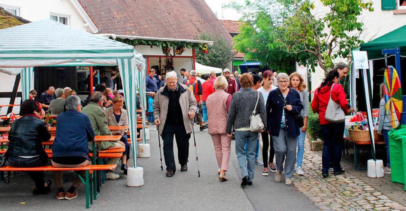 Verregnetes Dorffest: Das nass-kühle W...dass etliche  Bankreihen leer blieben.  | Foto: Reinhard Cremer
