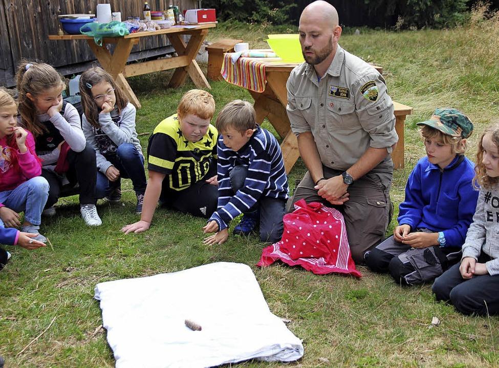Was ist das, fragt Ranger Raphael Böhm... jedes Kind diesen Gegenstand im Wald.  | Foto: Eva Korinth