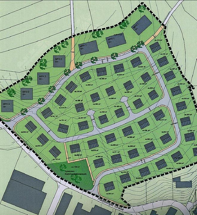 Nordöstlich der  Harpolinger Straße (vorn) soll das  Wohngebiet  entstehen.     Foto: Skizze: Gemeinde/Geoplan