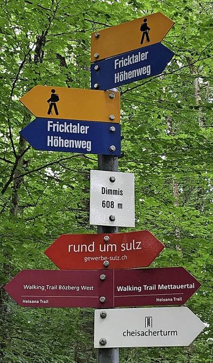 Gut ausgeschildert sind die Wege im Fricktal und rund um Sulz.  | Foto: Nina Witwicki