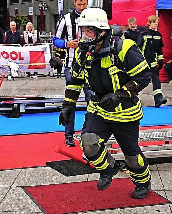 Jonas Bähr auf dem Weg in den Slalom.  | Foto: Feuerwehr Zel