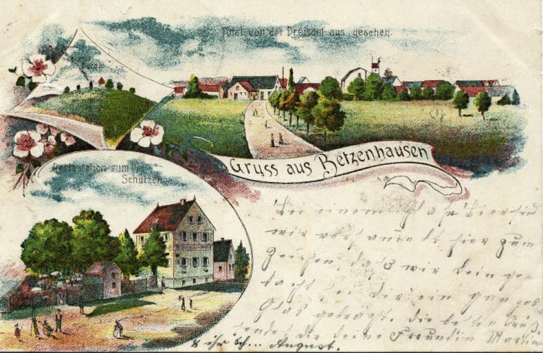 Die historische Betzenhausen-Postkarte zeigt unten links auch den Schützen.   | Foto: Archiv Hans-Jürgen Oehler